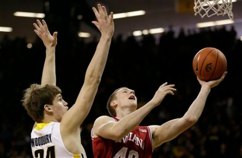 Cody Zeller scored 15 second half points in Indiana's 69-65 win at Iowa. (Image courtesy of http://collegebasketball.ap.org/times-online/slideshow/indiana-iowa-12312012)
