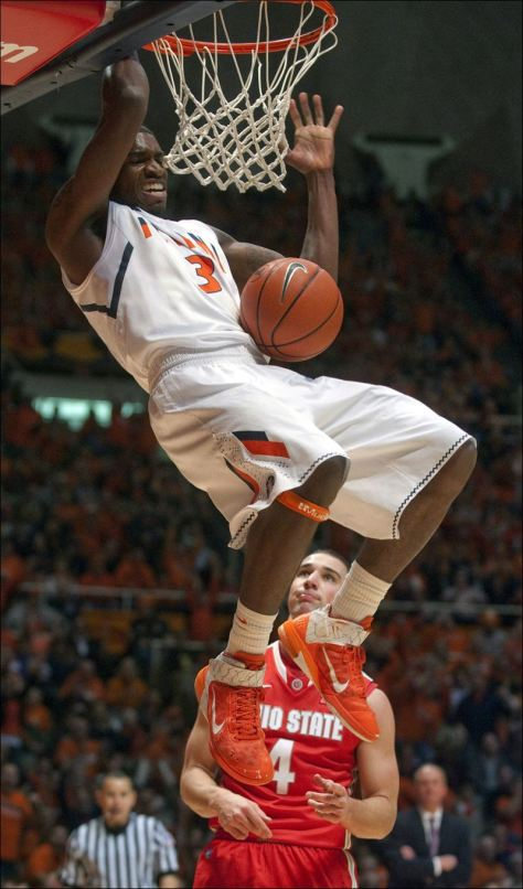 Brandon Paul and the Fighting Illini handled their business against Ohio State and make basketball fans wonder how good the Buckeyes really are. (Image courtesy of http://www.toledoblade.com/Ohio-State/2013/01/05/No-11-Illinois-rebounds-with-home-win-over-No-8-Buckeyes-74-55.html)