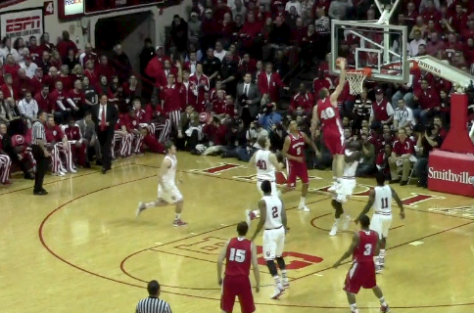 Wisconsin center Jared Berggren dunks on Victor Oladipo.