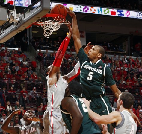 Adreian Payne and Michigan State are heating up as March approaches. The Spartans are tied with No. 1 Indiana for first place in the Big Ten entering their game on Tuesday.(Image courtesy of buckey extra.dispatch.com)