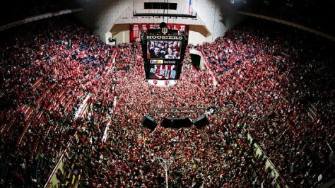Indiana fans stormed the court at Assembly Hall after Christian Watford's game-winning three-pointer gave IU a 73-72 victory over No. 1 Kentucky. (Image courtesy of http://www.grantland.com/blog/the-triangle/tag/_/name/tom-crean)