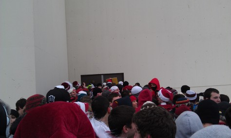 Our spot in line earned us 17th row seats after six and a half hours of waiting. I sat in the same row for the Indiana-Wisconsin game after arriving at Assembly Hall only 45 minutes early.