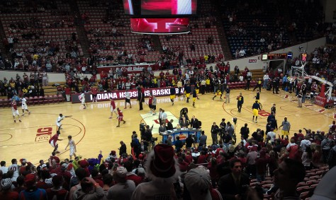 ESPN's College Gameday is filmed with Indiana and Michigan players warming up in the background.