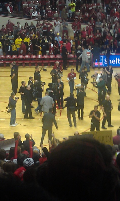 Indiana Coach Tom Crean was not taken by surprise with this year's win over the No. 1 team as he was with last year's last second three-point shot by Christian Watford to defeat No. 1 Kentucky. After the post-game handshakes, he acknowledged the crowd and celebrated the victory with Indiana fans.