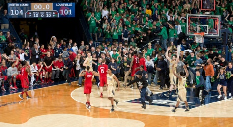 No. 11 Louisville and No. 25 Notre Dame's 5OT thriller was the longest regular season game in Big East history. (Image courtesy of http://www.uhnd.com/articles/basketball/notre-dame-wins-5-ot-thriller-12945/)