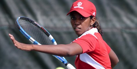 IU senior Jithmie Jayawickrema was 2-0 over the weekend with a pair of wins in the No. 6 singles position. (Image courtesy of iuhoosiers.com)