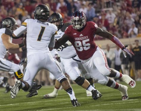 Junior Bobby Richardson goes after Missouri's quarterback during IU's game Saturday at Memorial Stadium. Richardson finished the game with five tackles. (BEN MIKESELL   IDS)