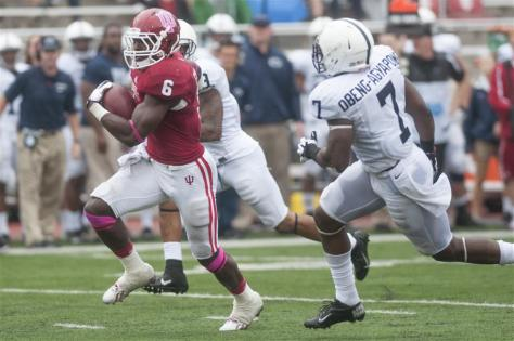 Sophomore Tevin Coleman runs for a touchdown during IU's game against Penn State on Saturday at Memorial Stadium. (BEN MIKESELL | IDS)